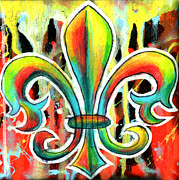 Acrylic Drawings Originals - Fleur De Lis In Flames by Genevieve Esson