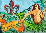 Water Flowing Posters - Fleur De Lis Mermaid Poster by Genevieve Esson
