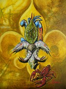 Crawfish Painting Posters - Fleur De Lis Poster by Theon Guillory