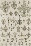 Pattern Drawings Prints - Fleur de Lys designs from every age and from all around the world Print by Jean Francois Albanis de Beaumont