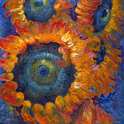 Yellow And Orange Sunflower Prints - Fleur du Feu Print by Nadine Rippelmeyer