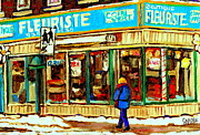 Verdun Restaurants Prints - Fleuriste Notre Dame Flower Shop Paintings Carole Spandau Winter Scenes Print by Carole Spandau
