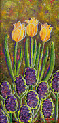 Contemplative Paintings - Fleurs d Tulips and Hyacinths by Margaret Bobb