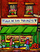 Window Signs Paintings - Fleurs De Lys Fleuriste Depanneur Fruits And Legumes Shops And Stores Carole Spandau Montreal Scenes by Carole Spandau