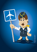 Airport Posters - Flight Attendant Cartoon Woman Airport Sign Poster by Frank Ramspott