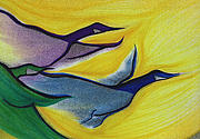 Line Pastels Originals - Flight by jrr by First Star Art
