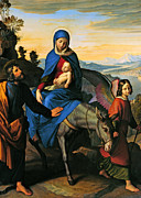 Baby Donkey Posters - Flight into Egypt with an Angel Poster by Munir Alawi