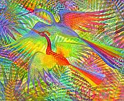 Forest Birds Prints - Flight of Colour and Bliss Print by Jennifer Baird