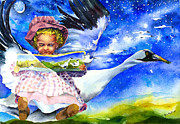 Mother Goose Painting Framed Prints - Flight of Fancy Framed Print by Deborah J Milton