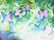 Watercolor. Butterfly Paintings - Flight of the Butterflies by Michelle Wiarda