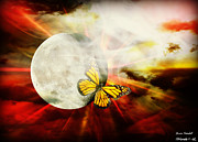 Orange Digital Art Originals - Flight of the Monarch by Jessica Grandall