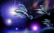 Silver Turquoise Sculptures - Flight of the Silver Birds by Hartmut Jager