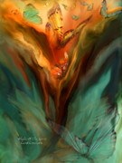Teal Mixed Media Posters - Flight Of The Spirit Poster by Carol Cavalaris
