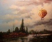 Hot Air Balloon Painting Posters - Flight of the Swan 2 Poster by Tom Shropshire