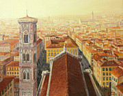 European Artwork Painting Prints - Flight over Florence Print by Kiril Stanchev