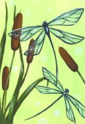 Dragonfly Paintings - Flight Through The Cat Tails by Elaina  Wagner