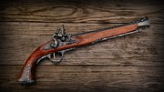 Antique Weapon Posters - Flintlock Blunderbuss Pistol Poster by Paul Ward