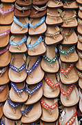 Thongs Framed Prints - Flip Flops at Anjuna Market Stall Framed Print by Robert Preston