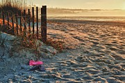 Beach Fence Digital Art Posters - Flip Flops by Fence with Sunrise Poster by Michael Thomas