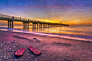 Tropical Sunset Prints - Flip-Flops Print by Debra and Dave Vanderlaan