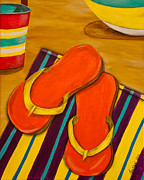 Beach Towel Prints - Flip Flops on the beach Print by Susan Cliett