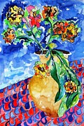 Life Framed Prints Painting Originals - Flip of Flowers by Esther Newman-Cohen
