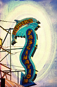 Dolphin Digital Art - Flippers Facination - Wildwood Boardwalk by Bill Cannon