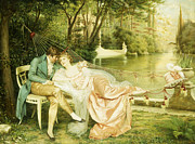 Courting Paintings - Flirtation  by Joseph Frederick Charles Soulacroix