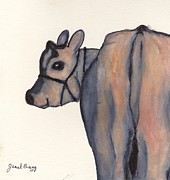 Calf Mixed Media - Flirty Cow at the County Fair by Janel Bragg