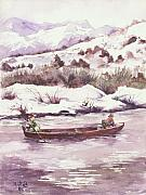 Winter Scene Paintings - Float Trip by Elisabeta Hermann