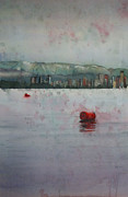 Abstract Realist Landscape Art - Floating barrels by Sandrine Pelissier