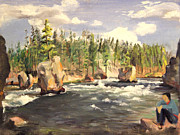 National Parks Paintings - Floating Boulders on the Yellowstone River  1950s by Art By Tolpo Collection