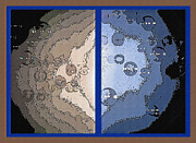 Bubbly Mixed Media Framed Prints - Floating Bubbles Abstract Diptych Framed Print by Steve Ohlsen