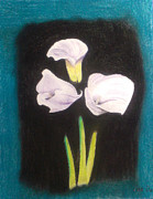 Black Background Mixed Media - Floating Flowers 3 by Alicia Lindley