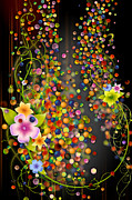 Bouquet Mixed Media Posters - Floating Fragrances - Black Version Poster by Bedros Awak