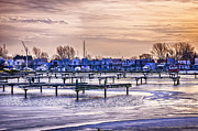 Winter Landscapes Art - Floating homes at Bluffers park marina by Elena Elisseeva