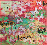Insects Mixed Media Prints - Floating In On A Song Print by Donna Blackhall