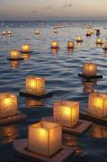 Ala Moana Metal Prints - Floating Lanterns at Sunset Metal Print by Brandon Tabiolo