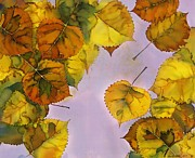 River Tapestries - Textiles Prints - Floating Leaves Print by Carolyn Doe