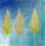 Yellow Leaves Mixed Media Posters - Floating Poster by Linda Woods