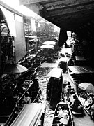 Justin Woodhouse Metal Prints - Floating Markets in Black and White Metal Print by Justin Woodhouse