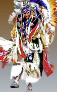 Powwow Framed Prints - Floating Native Dancer Framed Print by Linda  Parker
