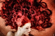 Curled Hair Art - Floating red by Gun Legler