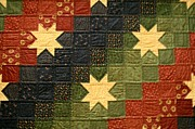 Homemade Quilts Prints - Floating Stars Quilt Print by Linda Albonico