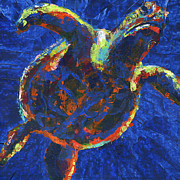 Save The Sea Turtle Paintings - Floating turtle by Lovejoy Creations