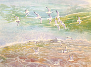 Flock Of Birds Painting Metal Prints - Flock of Seagulls flying over waves Metal Print by Gill Bustamante