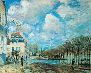 Residential Paintings - Flood at Port-Marly by Alfred Sisley