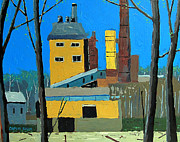April Paintings - Flood by the Power Plant by Charlie Spear