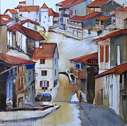 France Doors Painting Posters - Flood Way Home Poster by Shirley  Peters