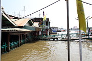 Dock Prints - Flooded docks of a river boat taxi in Bangkok Thailand - 01131 Print by DC Photographer